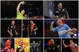 De 10 Nederlanders op het WK darts. © PDC