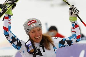 Christine Scheyer viert haar overwinning. © Reuters