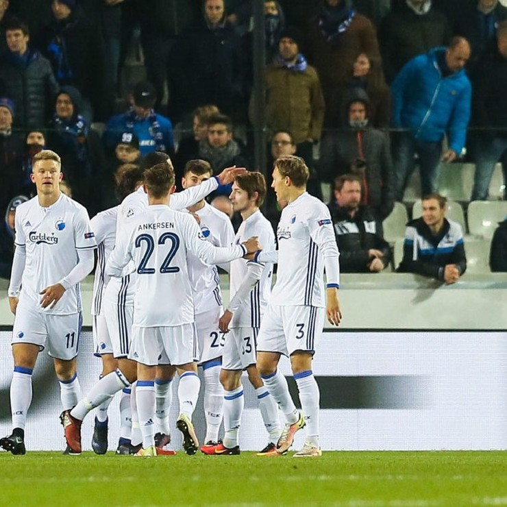 Feest bij de spelers van Kopenhagen na de 1-0 in Brugge © EPA